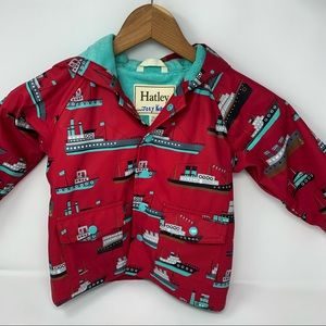 Hatley red rain jacket with boat print size 2